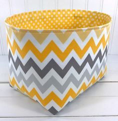 Organizer Basket Storage Bin, Nursery Decor, Diaper Storage, Fabric Bin, Fabric Basket, Home Decor, Chevron ZigZag, Yellow, Gray, Grey