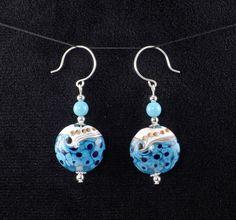 Handcrafted Blue White Lampwork Glass Bead Silver Dangle Drop Earrings by Shawnawerks, $17.00 USD