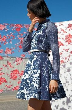 Print fever! Floral fit & flare dress + print shirt