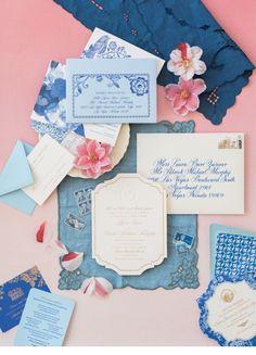 Elegant blue hued and gold wedding invitation paper suite: http://charlestonweddingsmag.com/DreamDay Photography: Corbin Gurkin - http://corbingurkin.com/