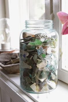 Sea glass in a jar.  How to postpone the summer feeling.