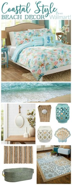 Coastal Style Beach Decor from Walmart Who knew? There are so many super cute and affordable coastal, beach style home decor offerings, from Walmart! Source by cottagefox. Coastal Style, Beach Bedroom, Affordable Home Decor, Cheap Home Decor, Cottage Style, Coastal Cottage, Coastal Bedrooms, Cottage Decor, Home Decor