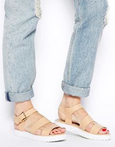 New Look | New Look Flux Cleated Sole Flat Sandals at ASOS