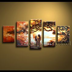 Stunning Contemporary Wall Art Artist Oil Painting Stretched Ready To Hang Landscape. This 5 panels canvas wall art is hand painted by Anmi.Z, instock - $168. To see more, visit OilPaintingShops.com