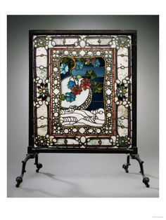 Edwardian Ebonised Oak Firescreen Decorated Needlework Panel Perching Peacock To Have A Long Historical Standing Antique Furniture