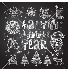 Christmas icons set chalkboard vector. New Year doodle icons by macrovector on VectorStock®