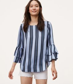 6d593e3780 Ocean Stripe Tiered Bell Sleeve Top Images Of Colours, Trendy Tops, Womens  Fashion,