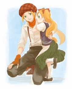 Ash and Cheryl from Harvest Moon Tale of Two Towns. Since he's such a good big brother, I think he'd be an excellent father.