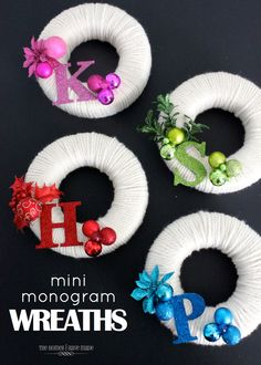 Mini Monogram Wreaths- great for teacher and neighbor gifts!