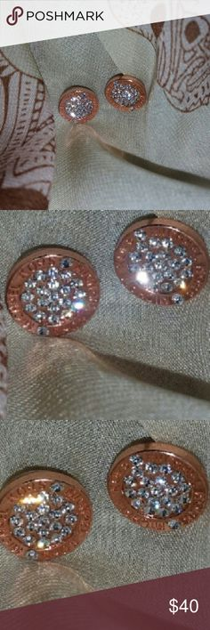 Michael Kors Rose Gold inlay crystals outer rim Rose gold Michael Kors earrings,  crystal in lay,  Michael Kors around out two times on each earring Michael Kors Jewelry Earrings