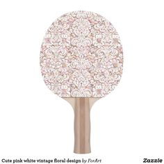Shop Cute pink white vintage floral design Ping-Pong paddle created by ForArt. Ping Pong Paddles, Cute Pink, Vintage Floral, Pink White, Hardwood, Floral Design, Prints, Color, Natural Wood