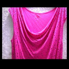 Pink cap sleeve scoop neck top Pink scoop neck top with brass colored  decorative rivets. Possibility missing one. In good condition. Worn a couple of times. INC International Concepts Tops