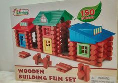 First Learning Wooden Building Fun Set 150 wood pieces boys & girls 3+ New   | eBay