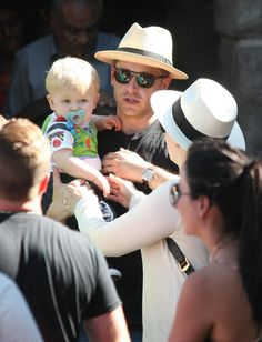 Once Upon a Time actors Ginnifer Goodwin and Josh Dallas along with their son Oliver Finlay Dallas enjoy their 4th of July holiday at Disneyland in Anaheim, CA