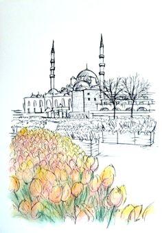 Turquia, em giz pastel seco sobre canson