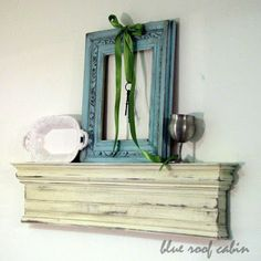 blue roof cabin: Mantel Shelf