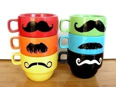 Mustache Mug Stacking Rainbow Mustache Mugs With by UptownAvenue