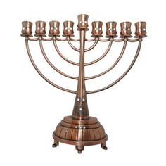 Copper Hanukkah Menorah with Curved Branches, Inscribed Lines and White Stones