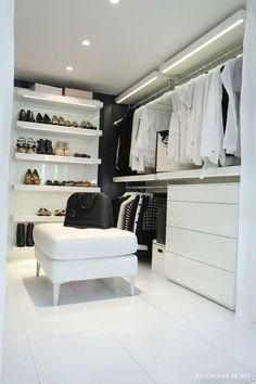 Black & White Closet with Shelves (LED lights), rails and dresser - Adalmina's Secret Wardrobe Room, Closet Bedroom, Home Bedroom, Modern Bedroom, White Closet, Walk In Closet, Dressing Room Closet, Dressing Rooms, Closet Vanity