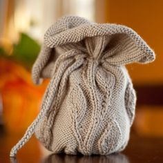 Drawstring bag knit in grey by AudsHandCrafts on Etsy, $20.00