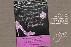 Woman Women High Heels Disco Ball Mirror Ball String Lights Birthday Party Invitation Invite Invites Invitations Red green blue yellow gold pink purple turquoise teal black Chalkboard with Photo - DIY Printable Digital Electronic File Evite by AsYouWishCreations4u