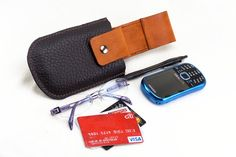 Custom Designed Dark Brown n Tan Phone, Eyeglass, Pen and Credit Cards Holster by Fleur de Leather.    What's your design? Just Ask...