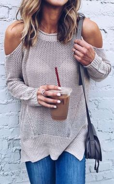 Cut-out sweater + jeans
