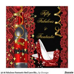 Shop 50 & Fabulous Fantastic Red Lace Black Birthday 2 Invitation created by Zizzago. Elegant Birthday Party, Gold Birthday Party, Princess Birthday, Birthday Bash, Birthday Wishes, Birthday Ideas, Happy Birthday, Baby Shower Invitations, Birthday Invitations