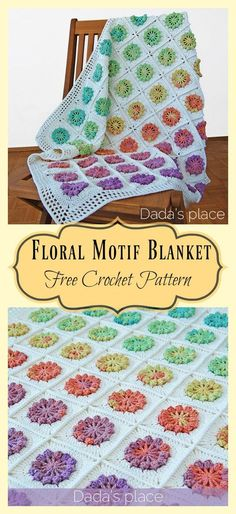 Want a floral crochet pattern that reminds you of walking in a spring garden? If so, check out this Floral Motif Afghan Baby Blanket Free Crochet Pattern. Easy Knitting Patterns, Crochet Blanket Patterns, Crochet Motif, Free Crochet, Simple Knitting, Crochet Flower, Loom Knitting, Crochet Stitches, Easy Knit Baby Blanket