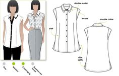 Tara top: Interesting double collar shirt with a sleeve band