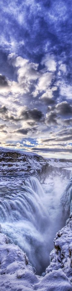 Gulfoss waterfall (frozen) ~ canyon of Hvítá river, southwest Iceland