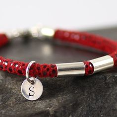Personalized Red Leather Bracelet  initial sterling by sigalitaJD