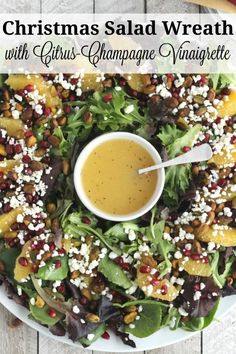 Christmas Wreath Salad! Beautiful, easy and really delicious! This Christmas Salad with Citrus-Champagne Vinaigrette is a salad recipe truly fit for a celebration! A perfect holiday salad for Thanksgiving, too! This salad with goat cheese, pomegranate arils, crunchy pistachios, and juicy orange slices is a showstopper! It's sure to impress, yet it's truly simple - perfect for busy cooks! | www.TwoHealthyKitchens.com