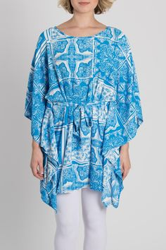 Blue and white printed tunic with dolman sleeves and waist tie for a flattering fit. Looks great with white pants and wedges! This light and summery tunic can be dressed up or down!   Blue Printed Tunic  by My Beloved. Clothing - Tops - Tunics California