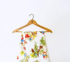Mid Century Woodland Fairy Tale Fabric / Vintage Curtain Panel