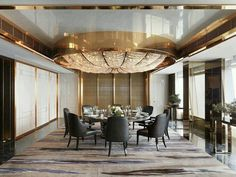 Ritz Carlton Hong Kong Presidential Suites - Wall Paneling by Kinon® Private Dining Room, Luxury Dining Room, Dining Room Design, Luxury Living, Luxury Interior, Room Interior, Interior Architecture, Luxury Restaurant, Restaurant Design