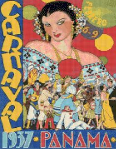 Art Deco Panama Carnival 1937 Cross Stitch pattern travel poster PDF - Instant Download! by PenumbraCharts on Etsy
