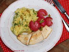 Forelle mit Butter-Radieschen und Radieschenblatt-Kartoffelstampf