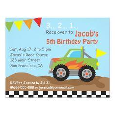 Trucks Birthday Party Invitations Green Monster Truck Birthday Party Card
