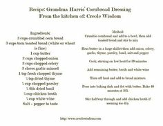 Katie's grandma's cornbread dressing