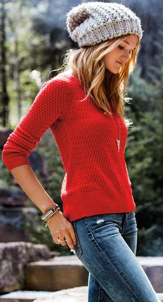Red Zip Back Textured Sweater
