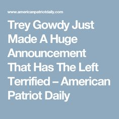 Trey Gowdy Just Made A Huge Announcement That Has The Left Terrified – American Patriot Daily