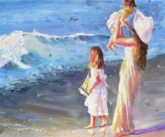 """First Sea Outing"" - by Cecilia Rosslee. Original Art, Original Paintings, Oil Paintings, Beach Paintings, Pictures Of People, Beach Scenes, Beach Art, Pictures To Paint, Beautiful Paintings"
