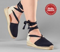 Traditional black low wedge espadrilles with laces | Classic timeless espadrilles for women | Handmade in Spain