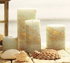 Map Pillar Candle, Pottery Barn knockoff