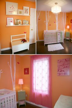 Orange & pink bird nursery for baby girl... Super cute... Though I wouldn't do birds in her nursery
