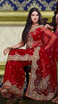 $157.25 Red Faux Georgette Bridal Saree 23413