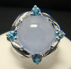 925 Sterling Silver Ring Round Blue Purple Chalcedony 4 Blue Topaz 5 9g Size 6 5 | eBay