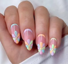 Best Acrylic Nails, Acrylic Nail Designs, Nail Art Designs, Nail Designs Spring, Daisy Nails, Flower Nails, Pretty Nails, Cute Nails, Cute Summer Nails