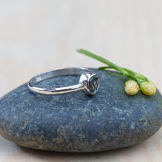 Raw blue diamond ring with amazing crystals by GardensOfTheSun
